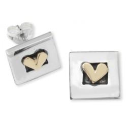 Silver square heart earrings