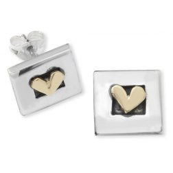 Silver square heart earrings
