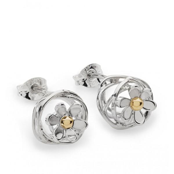 silver scribbles daisy earrings