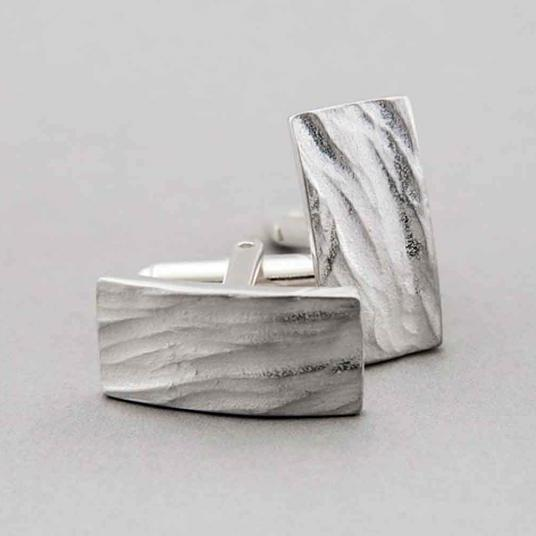 Silver Curved Rock Cufflinks