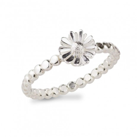Silver Daisy Beaded Ring