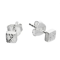 Silver Cubed Stud Earrings