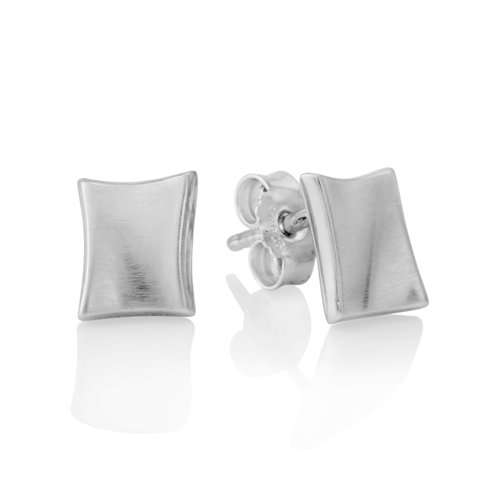 silver edge stud earrings