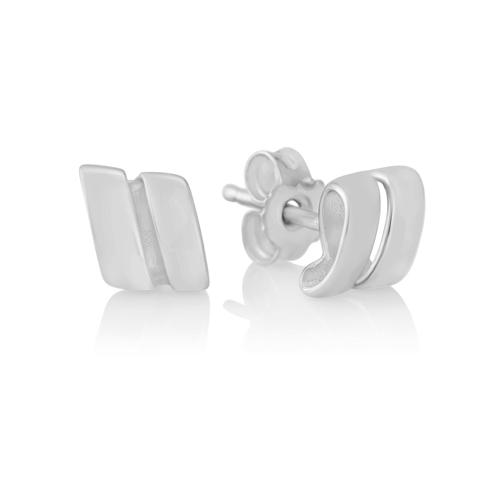 Silver Ribbon Stud Earrings