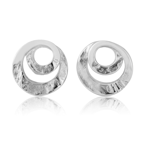silver swirl stud earrings