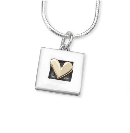 Silver Square Heart Pendant