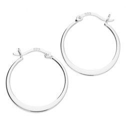Silver Crescent Hoop Earrings