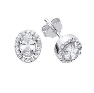 Silver Oval Halo Earrings.